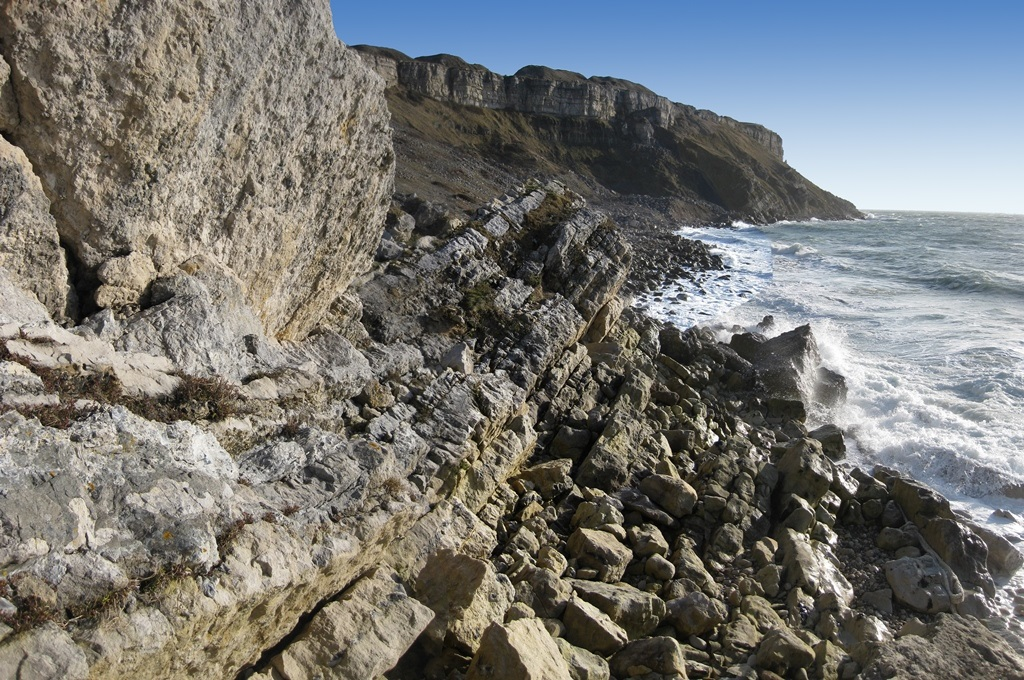 Tar Rocks on the west coast of the Isle of Portland, Jurassic Coast World Heritage Site