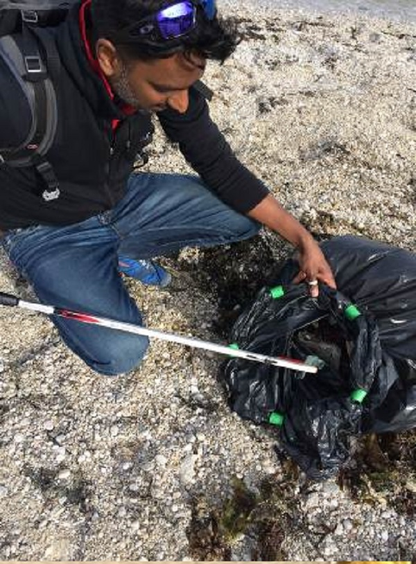 Litter picking beach-style