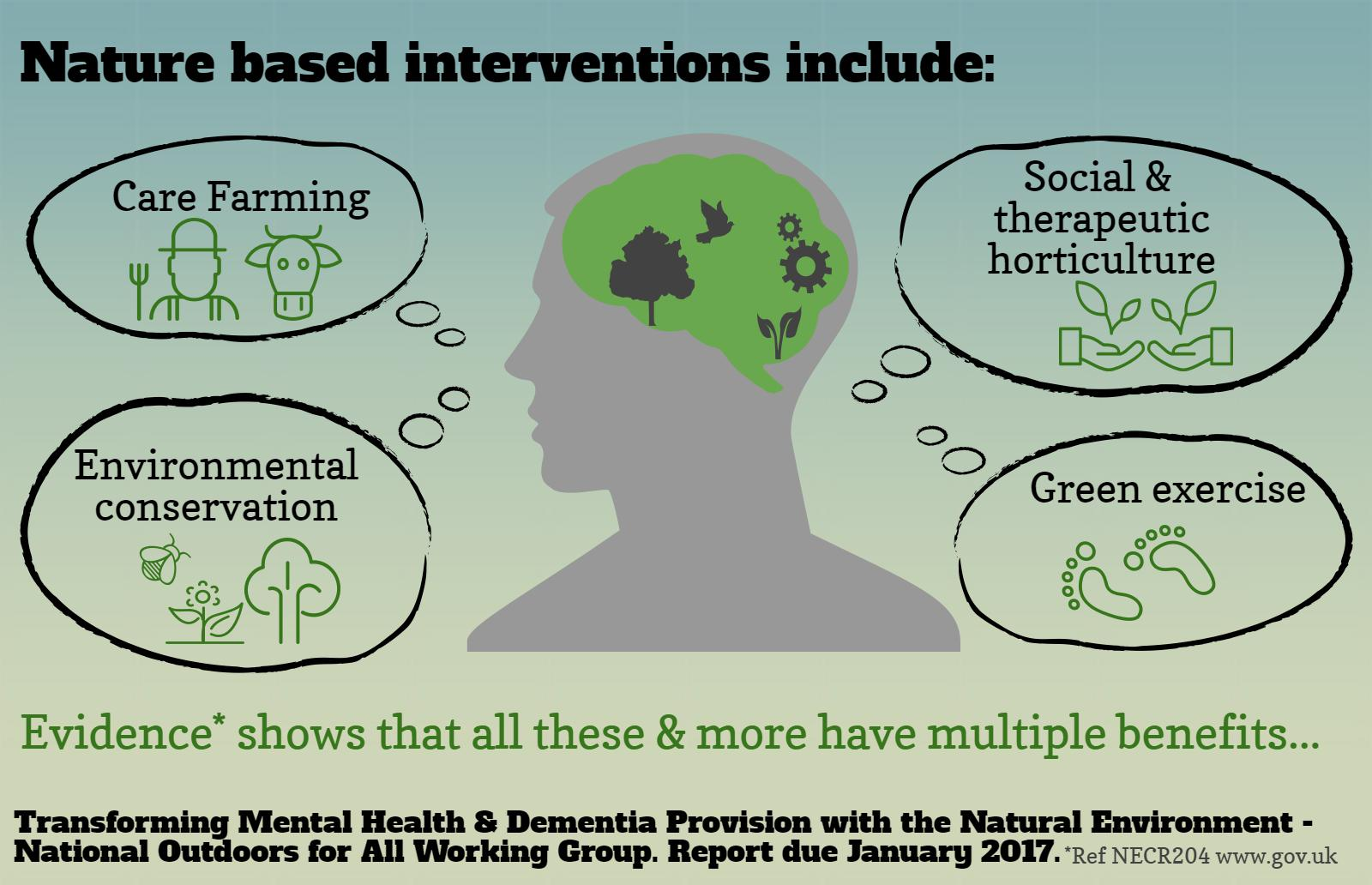 Nature based interventions can include...
