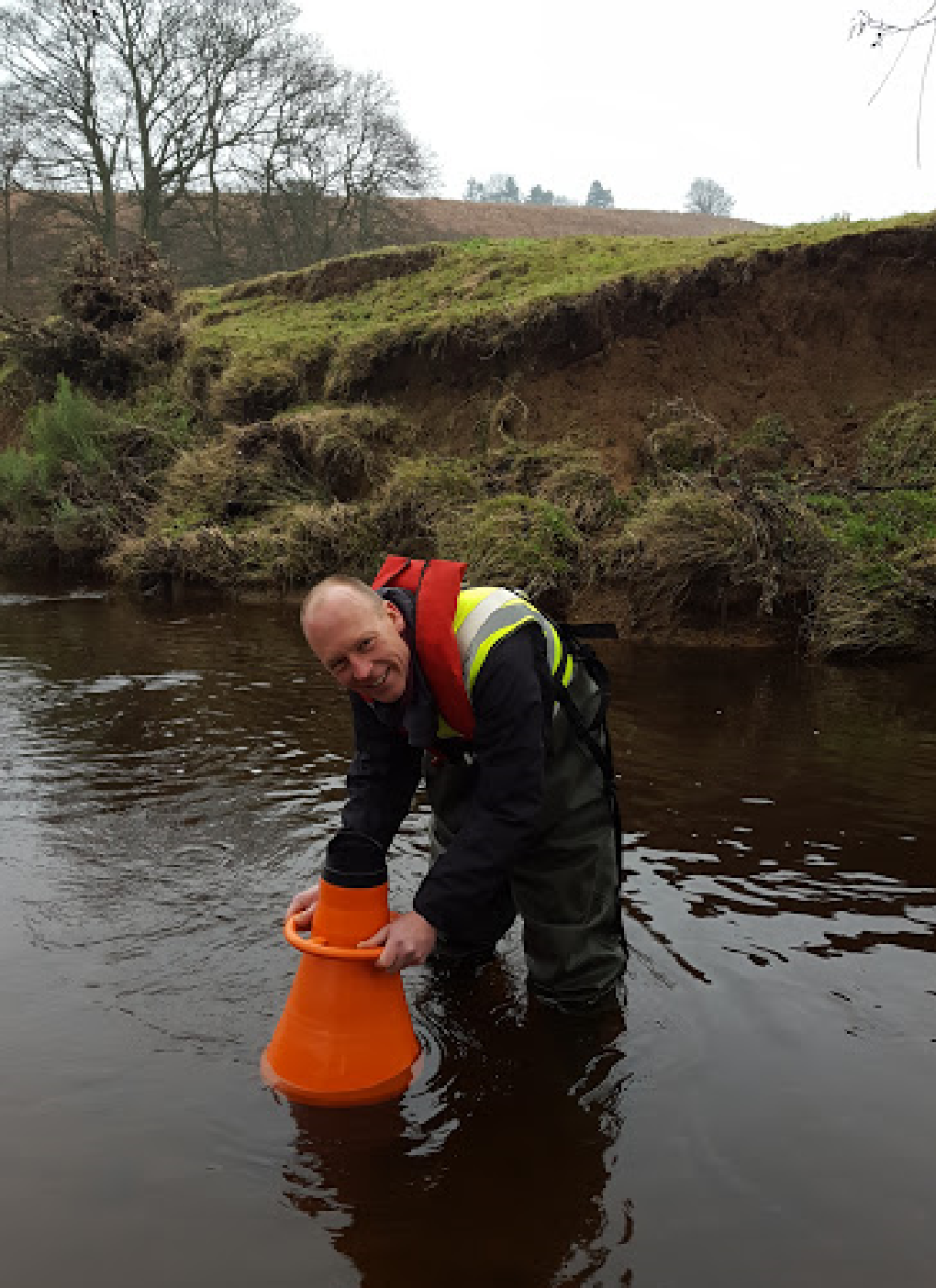 Tim surveying River Esk. Credit: Gemma Smith, Natural England