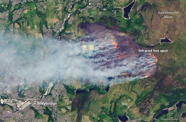 Aerial image of Saddleworth Moor on fire