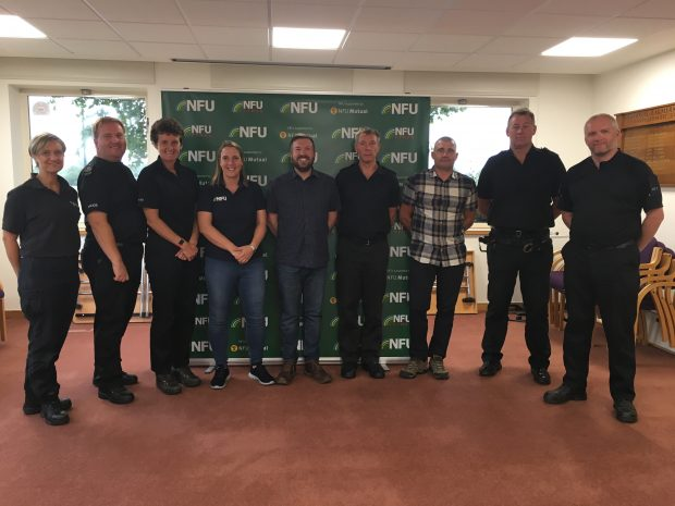 From left to right: Elaine Rees (Bedfordshire Crime Scene Supervisor), Sergeant Jamie Bartlett (Hertfordshire), Sergeant Jos Bartlett (Hertfordshire), Rosalind David (NFU), Paul Cantwell (Natural England), Inspector Nick Stonehouse (Suffolk), PC Jonathan Chandler (Norfolk), PC Jason Pegden (Norfolk) and PC Andy Long (Essex).