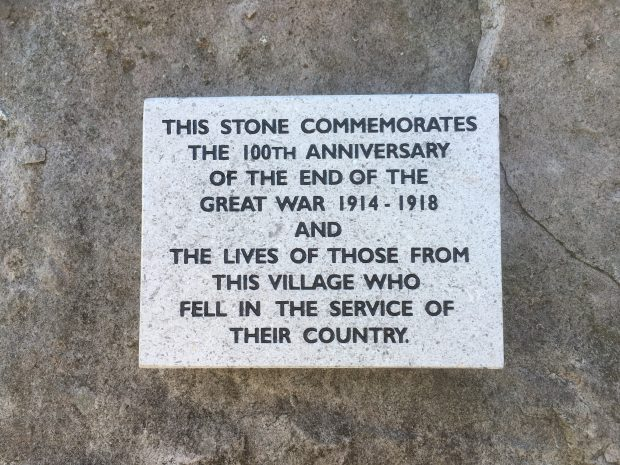 Memorial plaque marking the 100th anniversary of the end of the Great War in Aston Rowant National Nature Reserve