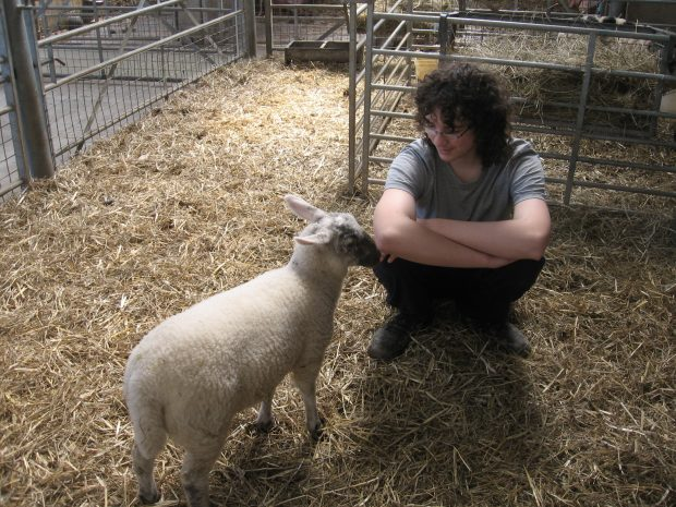 a teenage boy sits in a barn on straw next to a sheep