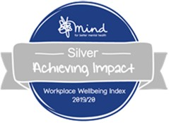 An image of the Silver Award logo the text reads: Mind silvre achieving impact workplace wellbing index 2019/20